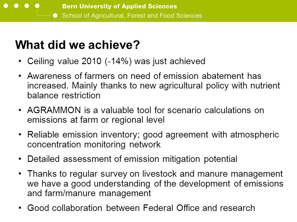 Berner Fachhochschule Hochschule für Agrar-, Forst- und Lebensmittelwissenschaften HAFL What did we achieve.
