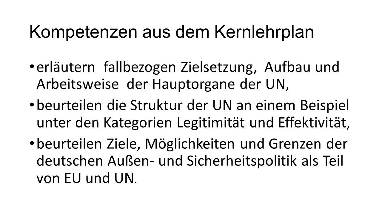Kompetenzen aus dem Kernlehrplan erläutern fallbezogen Zielsetzung, Aufbau und Arbeitsweise der Hauptorgane der UN, beurteilen die Struktur der UN an