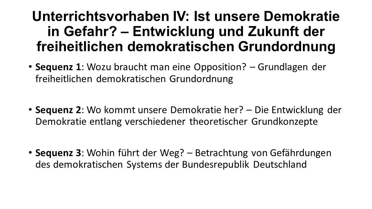 Unterrichtsvorhaben IV: Ist unsere Demokratie in Gefahr? – Entwicklung und Zukunft der freiheitlichen demokratischen Grundordnung Sequenz 1: Wozu brau