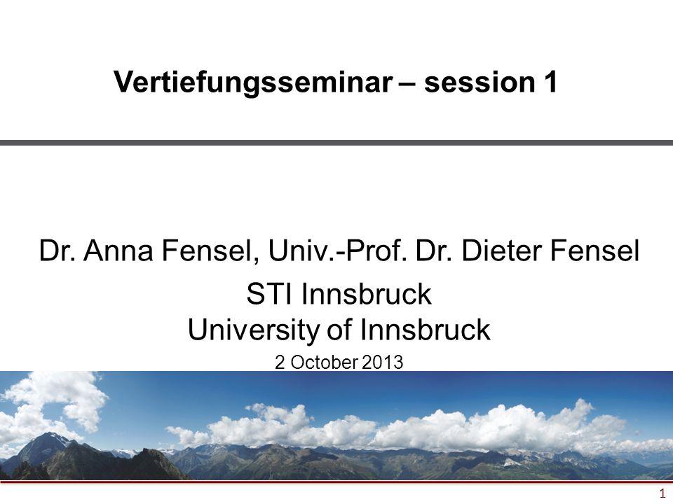 1 Vertiefungsseminar – session 1 Dr. Anna Fensel, Univ.-Prof.