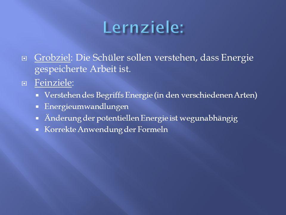 Grobziel: Die Schüler sollen verstehen, dass Energie gespeicherte Arbeit ist. Feinziele: Verstehen des Begriffs Energie (in den verschiedenen Arten) E