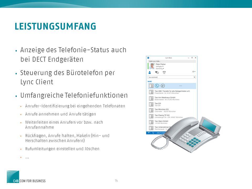 14 Anzeige des Telefonie-Status auch bei DECT Endgeräten Steuerung des Bürotelefon per Lync Client Umfangreiche Telefoniefunktionen Anrufer-Identifizi