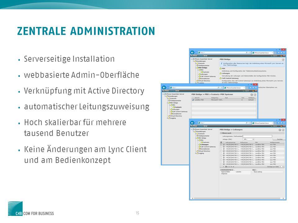 15 ZENTRALE ADMINISTRATION Serverseitige Installation webbasierte Admin-Oberfläche Verknüpfung mit Active Directory automatischer Leitungszuweisung Ho