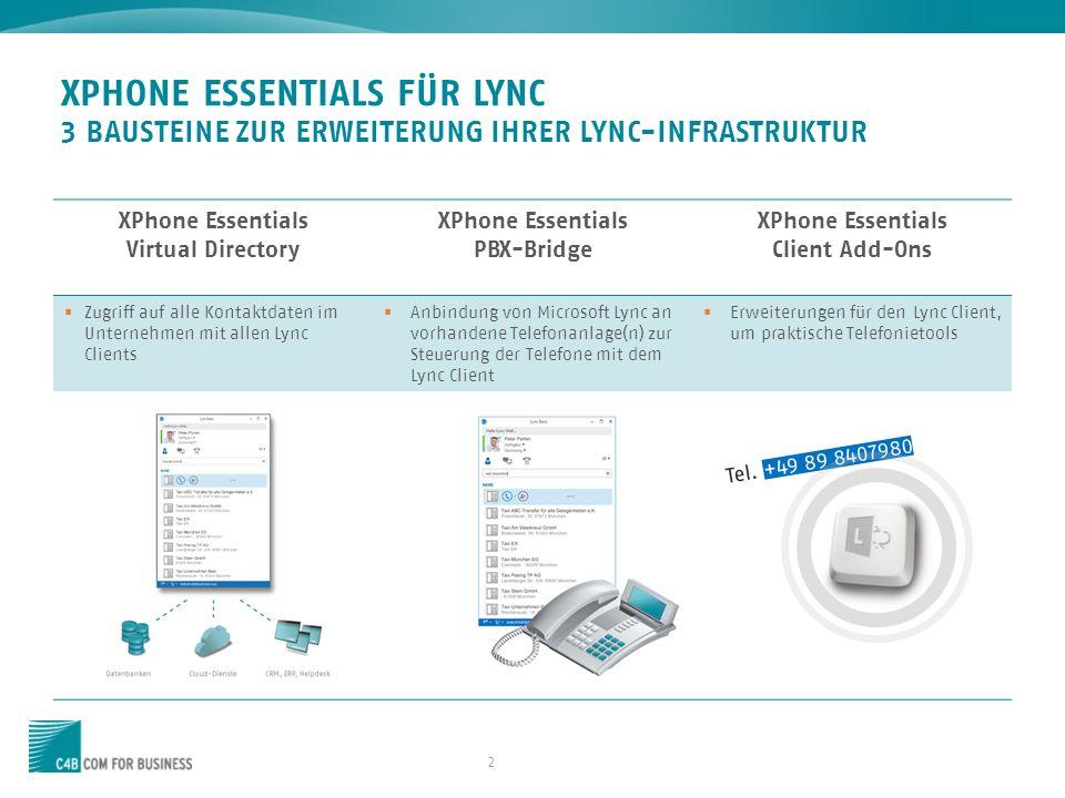 23 ARCHITEKTUR – XPHONE ESSENTIALS FÜR LYNC Systemvorausetzungen finden Sie hier »