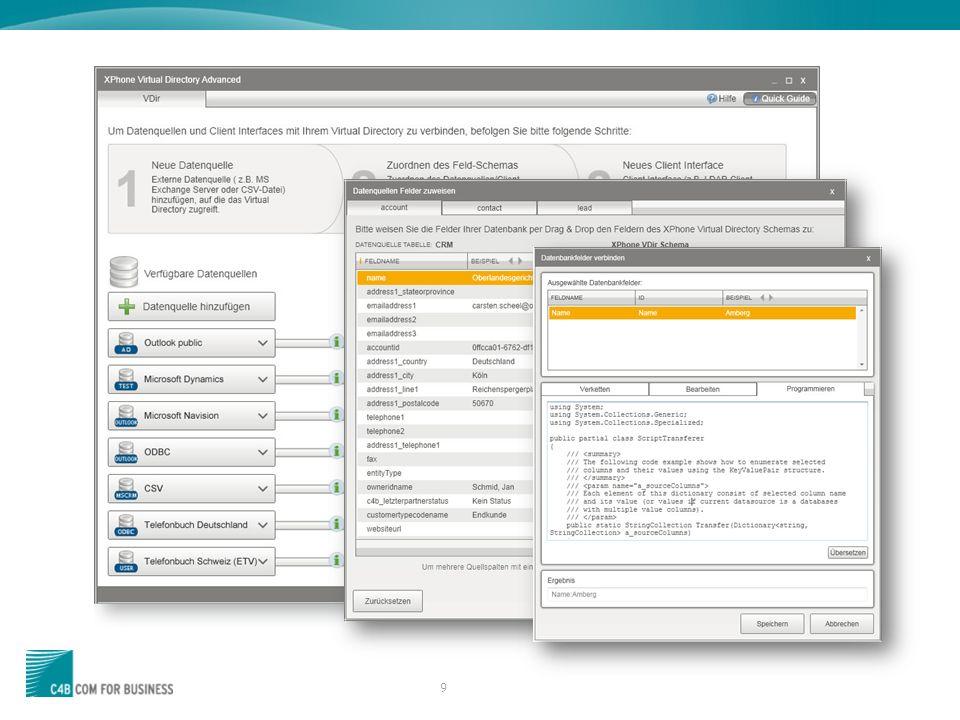 30 XPhone Essentials Virtual Directory Einschränkungen bei der Suche in Lync 2013 auf Grund eines Fehler im Lync Client (Ticket bei MS offen) Suche nach Umlauten nicht mögl.