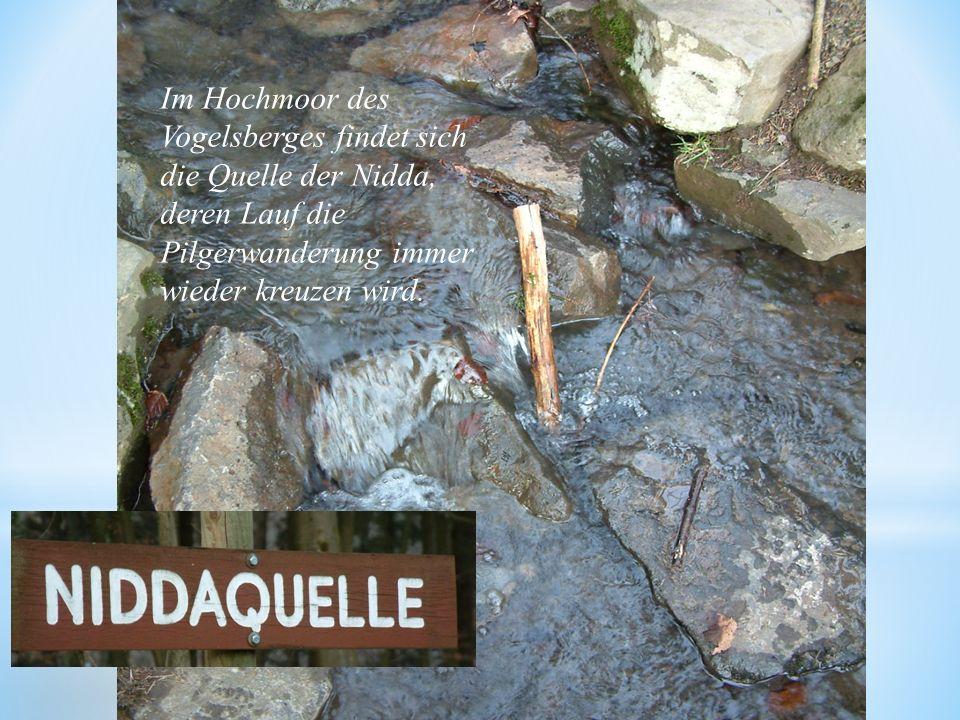 Im Hochmoor des Vogelsberges findet sich die Quelle der Nidda, deren Lauf die Pilgerwanderung immer wieder kreuzen wird.