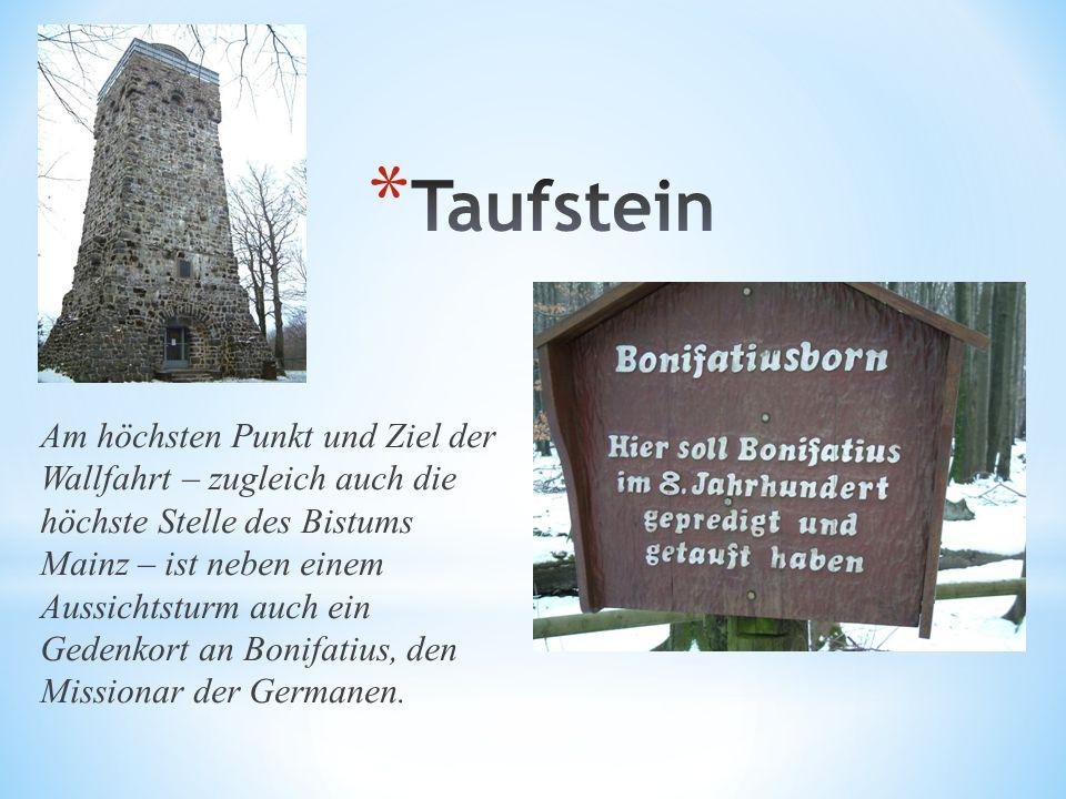 Am höchsten Punkt und Ziel der Wallfahrt – zugleich auch die höchste Stelle des Bistums Mainz – ist neben einem Aussichtsturm auch ein Gedenkort an Bonifatius, den Missionar der Germanen.