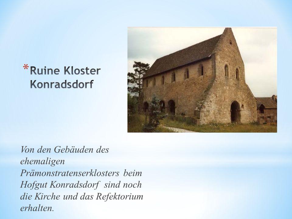 Von den Gebäuden des ehemaligen Prämonstratenserklosters beim Hofgut Konradsdorf sind noch die Kirche und das Refektorium erhalten.