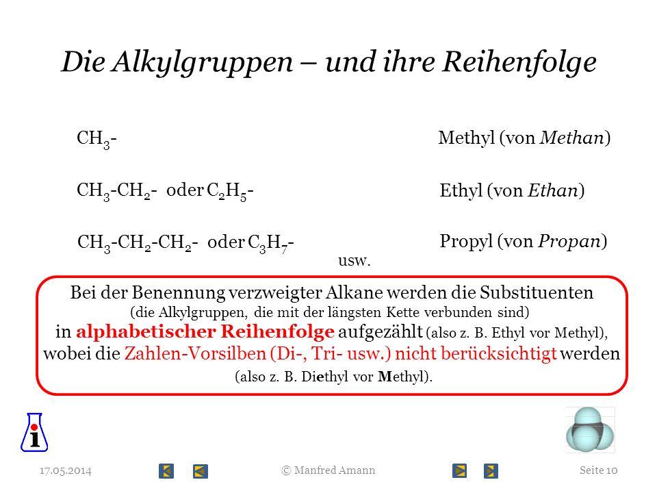Die Alkylgruppen – und ihre Reihenfolge 17.05.2014Seite 10© Manfred Amann CH 3 -Methyl (von Methan) CH 3 -CH 2 - oder C 2 H 5 - Ethyl (von Ethan) CH 3