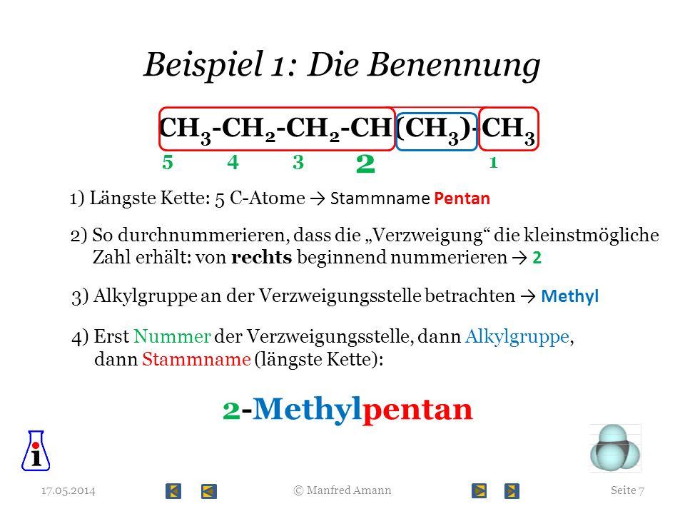 Beispiel 1: Die Benennung 17.05.2014Seite 7© Manfred Amann CH 3 -CH 2 -CH 2 -CH(CH 3 )-CH 3 1) Längste Kette: 5 C-Atome Stammname Pentan 2) So durchnu