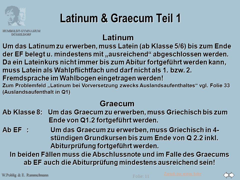 Zurück zur ersten Seite W.Pohlig & E. Rammelmann HUMBOLDT-GYMNASIUM DÜSSELDORF Folie: 11 Latinum & Graecum Teil 1 Graecum Ab Klasse 8: Um das Graecum