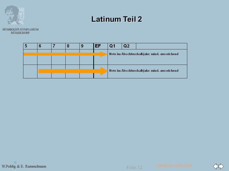 Zurück zur ersten Seite W.Pohlig & E. Rammelmann HUMBOLDT-GYMNASIUM DÜSSELDORF Folie: 12 12 Latinum Teil 2