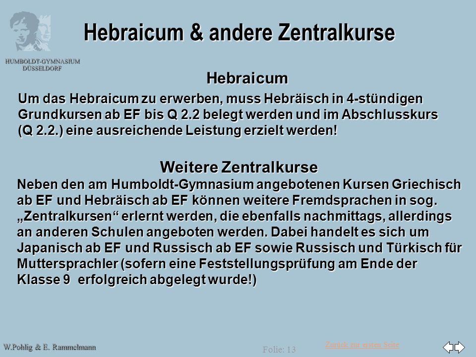 Zurück zur ersten Seite W.Pohlig & E. Rammelmann HUMBOLDT-GYMNASIUM DÜSSELDORF Folie: 13 Hebraicum & andere Zentralkurse Weitere Zentralkurse Neben de