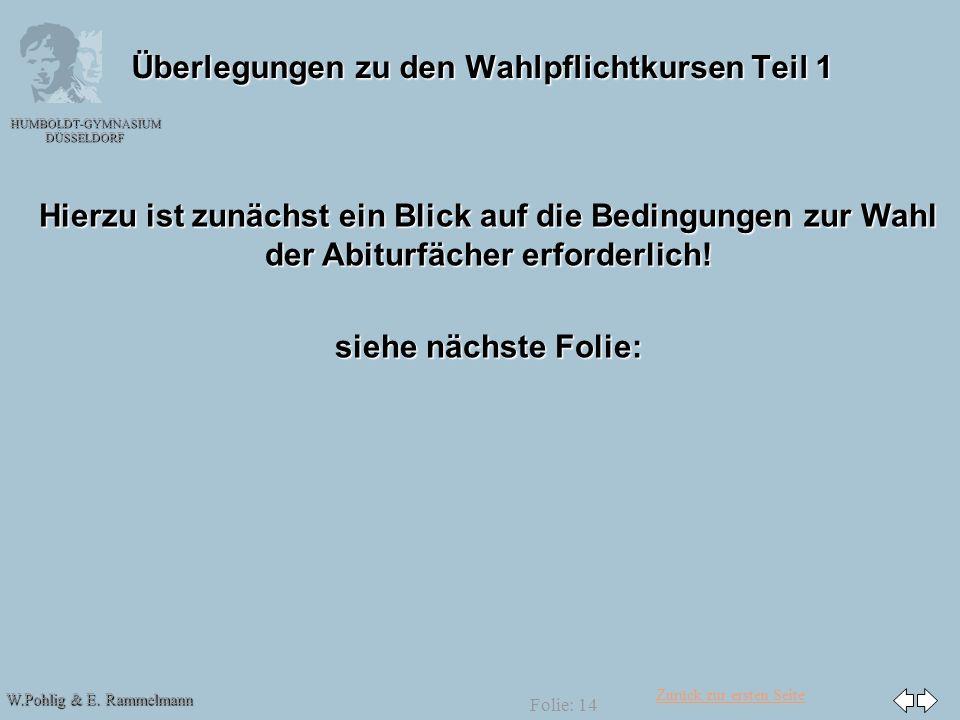 Zurück zur ersten Seite W.Pohlig & E. Rammelmann HUMBOLDT-GYMNASIUM DÜSSELDORF Folie: 14 Überlegungen zu den Wahlpflichtkursen Teil 1 Hierzu ist zunäc