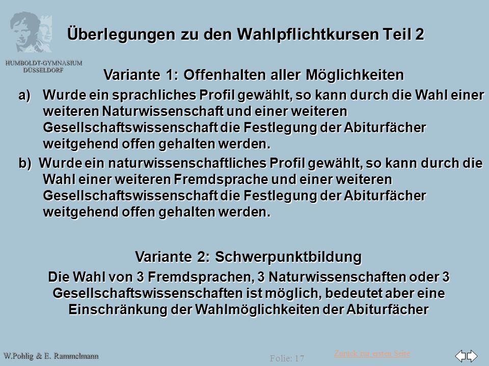 Zurück zur ersten Seite W.Pohlig & E. Rammelmann HUMBOLDT-GYMNASIUM DÜSSELDORF Folie: 17 Überlegungen zu den Wahlpflichtkursen Teil 2 Variante 1: Offe