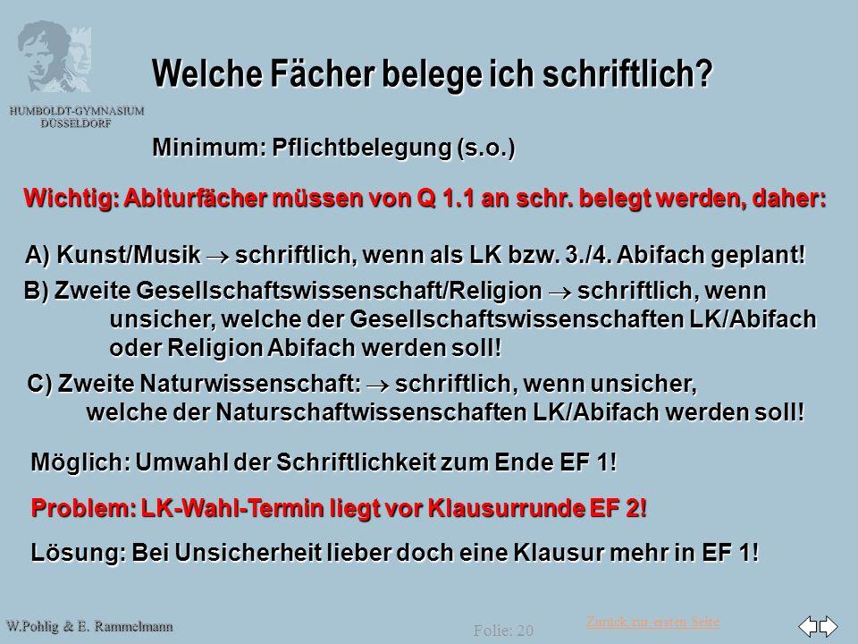 Zurück zur ersten Seite W.Pohlig & E. Rammelmann HUMBOLDT-GYMNASIUM DÜSSELDORF Folie: 20 Welche Fächer belege ich schriftlich? Minimum: Pflichtbelegun