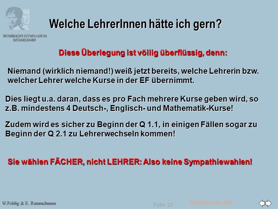 Zurück zur ersten Seite W.Pohlig & E. Rammelmann HUMBOLDT-GYMNASIUM DÜSSELDORF Folie: 21 Welche LehrerInnen hätte ich gern? Diese Überlegung ist völli