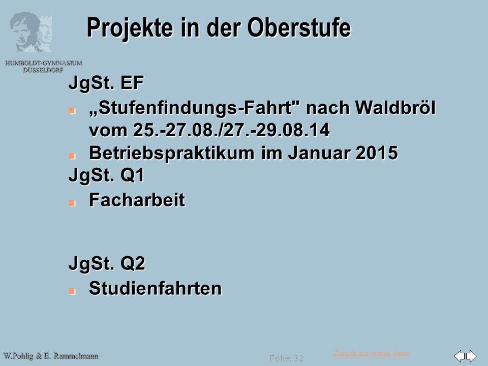 Zurück zur ersten Seite W.Pohlig & E. Rammelmann HUMBOLDT-GYMNASIUM DÜSSELDORF Folie: 32 Projekte in der Oberstufe JgSt. EF n Stufenfindungs-Fahrt
