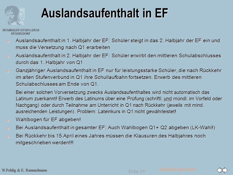 Zurück zur ersten Seite W.Pohlig & E. Rammelmann HUMBOLDT-GYMNASIUM DÜSSELDORF Folie: 35 Auslandsaufenthalt in EF n Auslandsaufenthalt in 1. Halbjahr