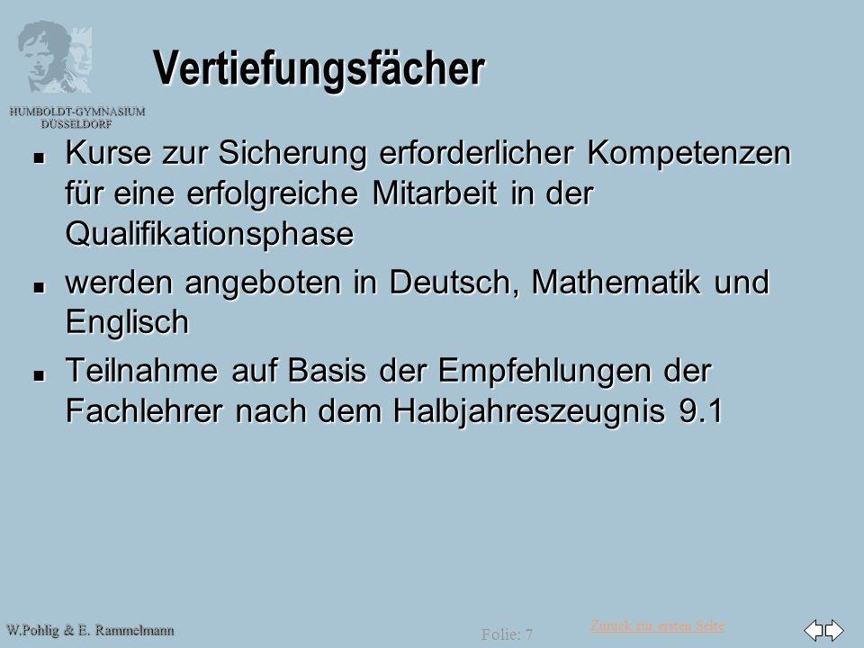Zurück zur ersten Seite W.Pohlig & E. Rammelmann HUMBOLDT-GYMNASIUM DÜSSELDORF Folie: 7 Vertiefungsfächer n Kurse zur Sicherung erforderlicher Kompete