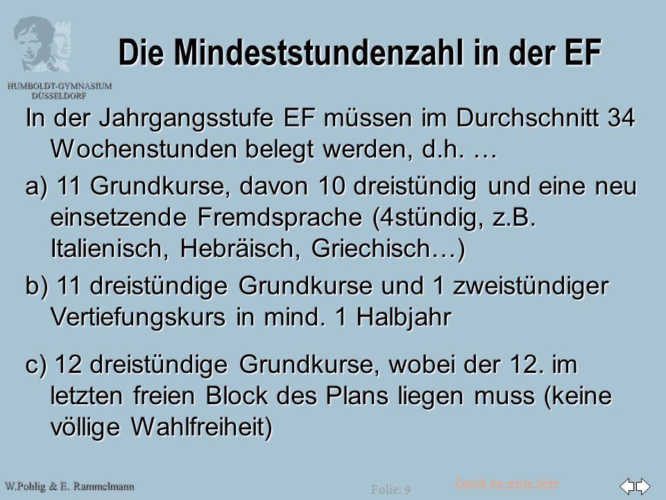 Zurück zur ersten Seite W.Pohlig & E. Rammelmann HUMBOLDT-GYMNASIUM DÜSSELDORF Folie: 9 Die Mindeststundenzahl in der EF In der Jahrgangsstufe EF müss