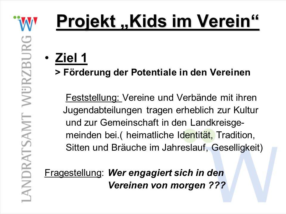 Projekt Kids im Verein Ziel 1 > Förderung der Potentiale in den Vereinen Feststellung: Vereine und Verbände mit ihren Jugendabteilungen tragen erhebli