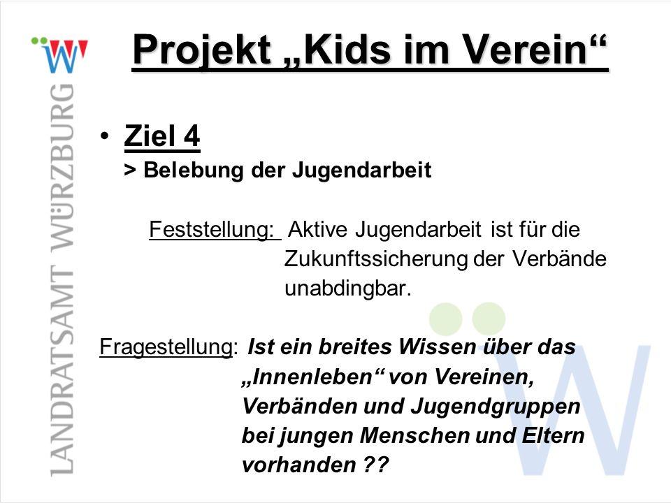 Projekt Kids im Verein Ziel 4 > Belebung der Jugendarbeit Feststellung: Aktive Jugendarbeit ist für die Zukunftssicherung der Verbände unabdingbar. Fr