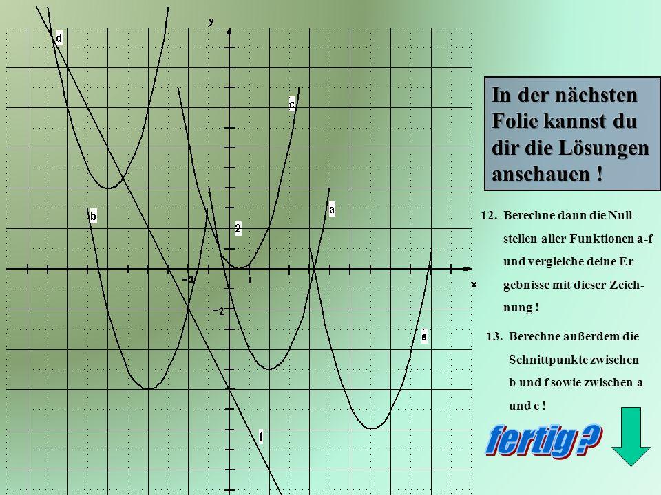 12. Berechne dann die Null- stellen aller Funktionen a-f und vergleiche deine Er- gebnisse mit dieser Zeich- nung ! 13. Berechne außerdem die Schnittp