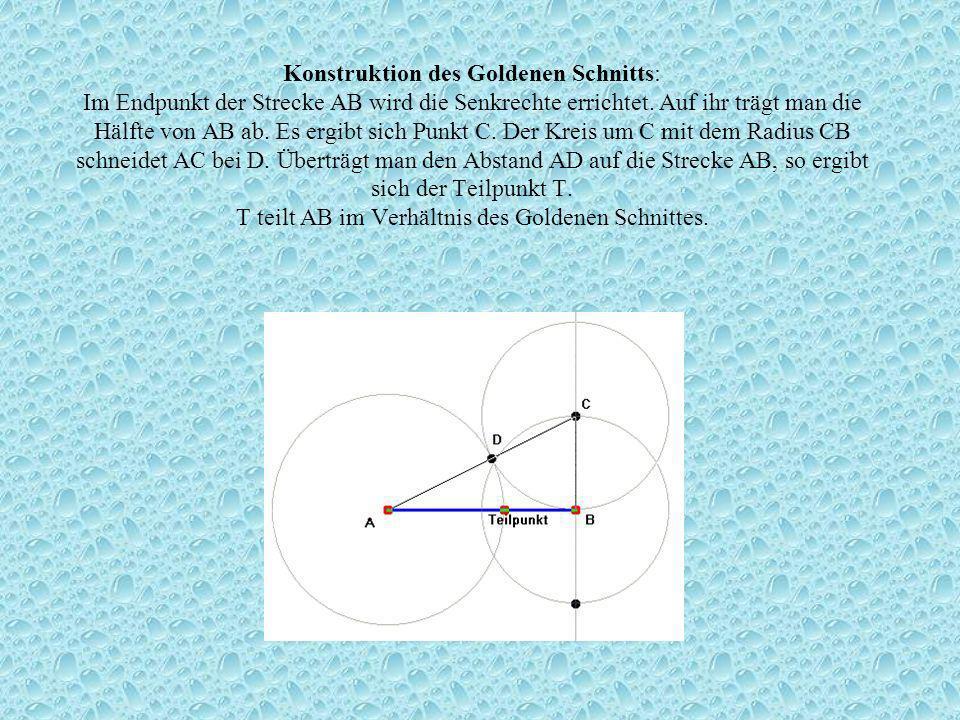 Konstruktion des Goldenen Schnitts: Im Endpunkt der Strecke AB wird die Senkrechte errichtet.