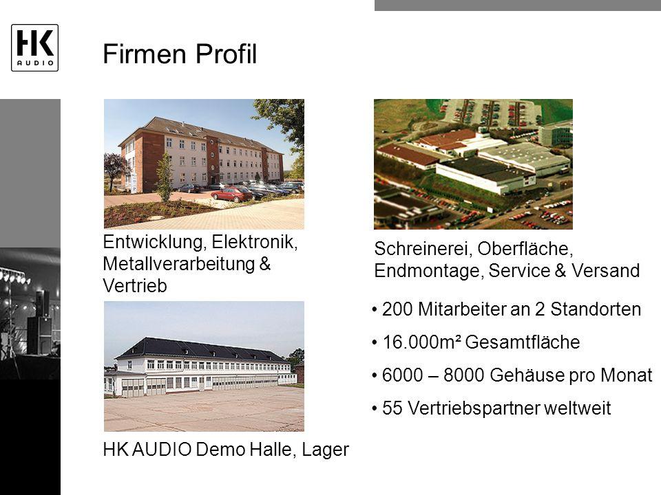 Firmen Profil Entwicklung, Elektronik, Metallverarbeitung & Vertrieb Schreinerei, Oberfläche, Endmontage, Service & Versand HK AUDIO Demo Halle, Lager