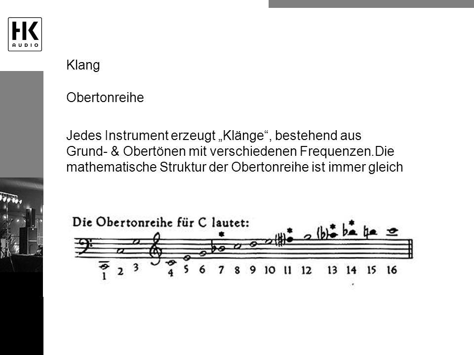 Obertonreihe Jedes Instrument erzeugt Klänge, bestehend aus Grund- & Obertönen mit verschiedenen Frequenzen.Die mathematische Struktur der Obertonreih