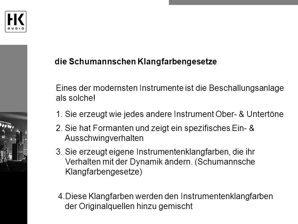 Eines der modernsten Instrumente ist die Beschallungsanlage als solche! 1. Sie erzeugt wie jedes andere Instrument Ober- & Untertöne 2. Sie hat Forman
