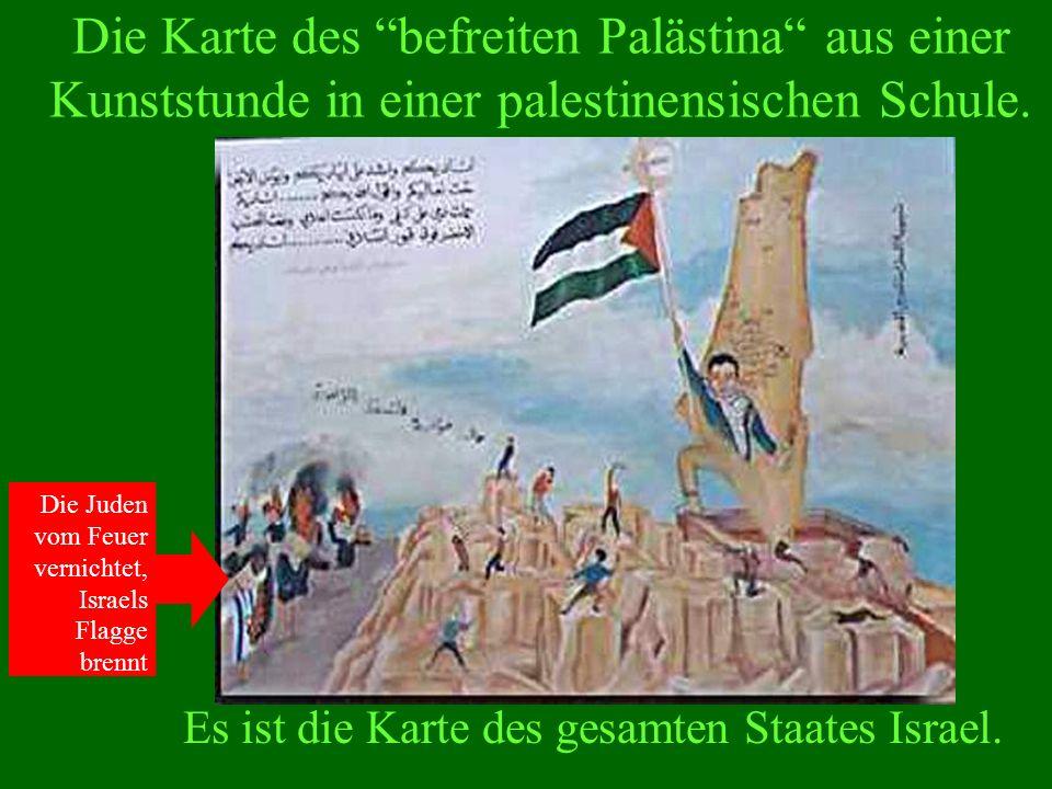 Die Karte des befreiten Palästina aus einer Kunststunde in einer palestinensischen Schule.