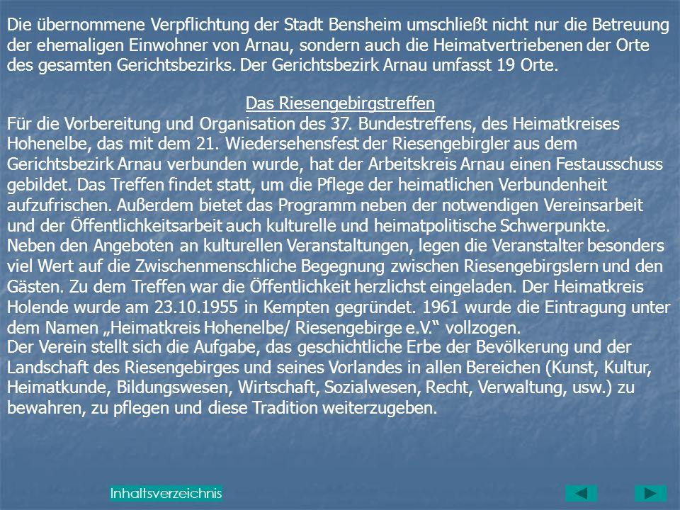 Der letzte Bürgermeister von Arnau war der Diplomingenieur Karl Röhrich. Am 29. April 1956 übernahm im Rahmen der Festwoche aus Anlass der Verleihung
