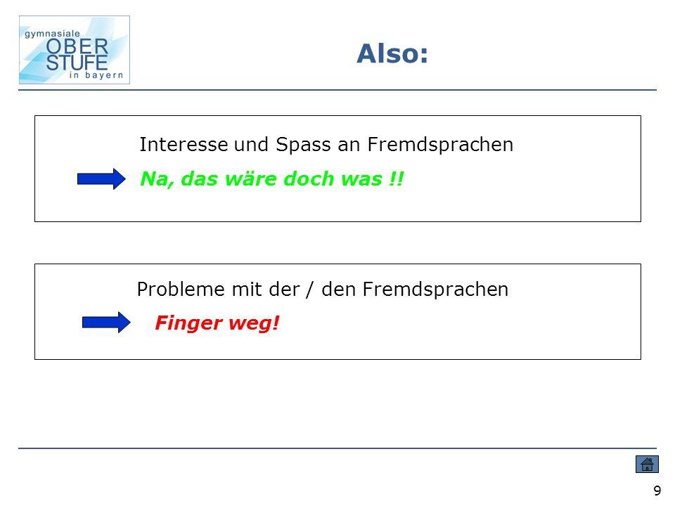 9 Also: Interesse und Spass an Fremdsprachen Na, das wäre doch was !.
