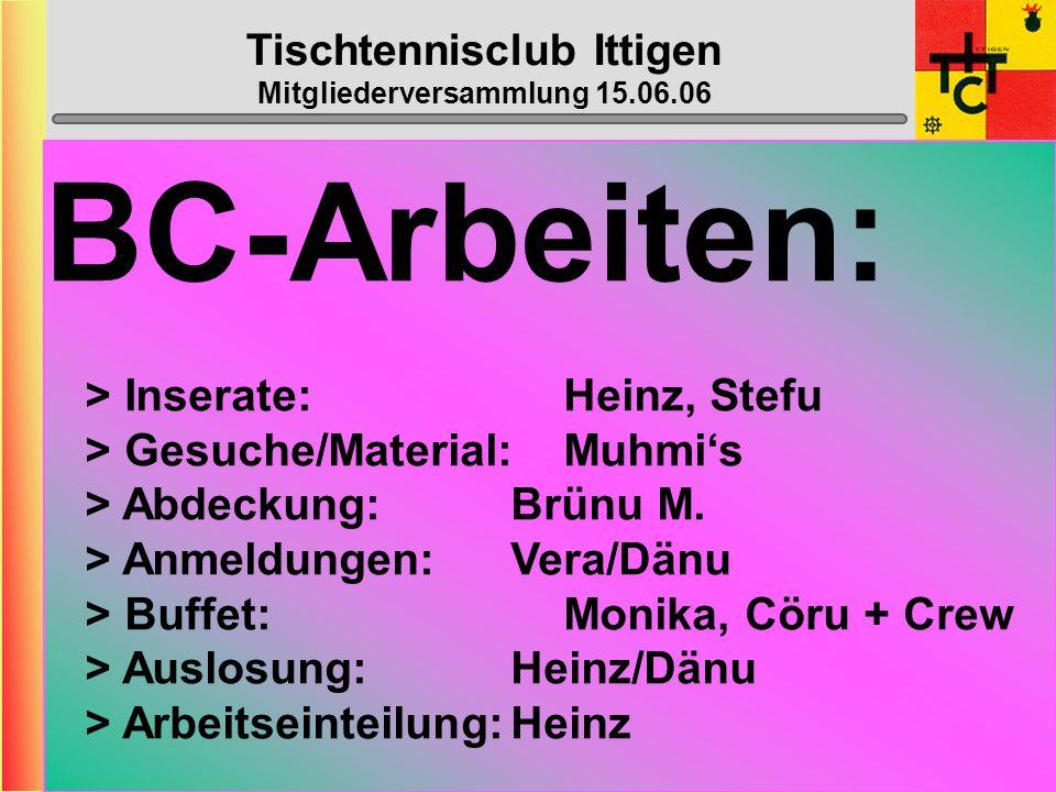 Tischtennisclub Ittigen Mitgliederversammlung 15.06.06 Wahl der übrigen Ämter Revisoren: Webmaster: Nachwuchs: Top-Spin: Bowling: Monika + Max-Peter D