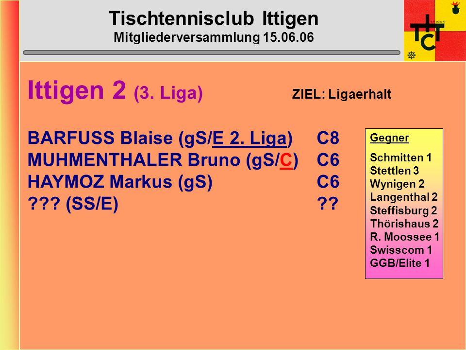 Tischtennisclub Ittigen Mitgliederversammlung 15.06.06 Ittigen 1 (2. Liga) ZIEL: Ligaerhalt BAZZI Vera (gS)B14 BAZZI Reto (gS/C)C7 ULRICH Corinne (gS)