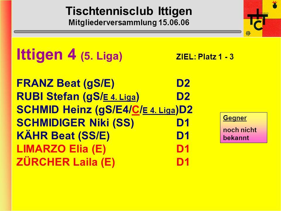 Tischtennisclub Ittigen Mitgliederversammlung 15.06.06 Ittigen 3 (4. Liga) ZIEL: Ligaerhalt GALL-BOSSHARD Marcel (gS)D3 KÜMMELBERG Tanja (SS/C)D1 LEND