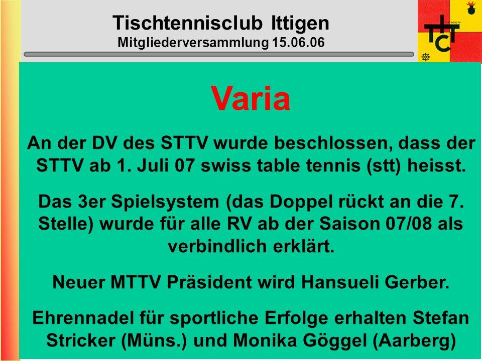 Tischtennisclub Ittigen Mitgliederversammlung 15.06.06 MTTV-/STTV-Cup 2006/2007 STTV-Cup:Die Stärksten, die wollen... MTTV-Cup ????