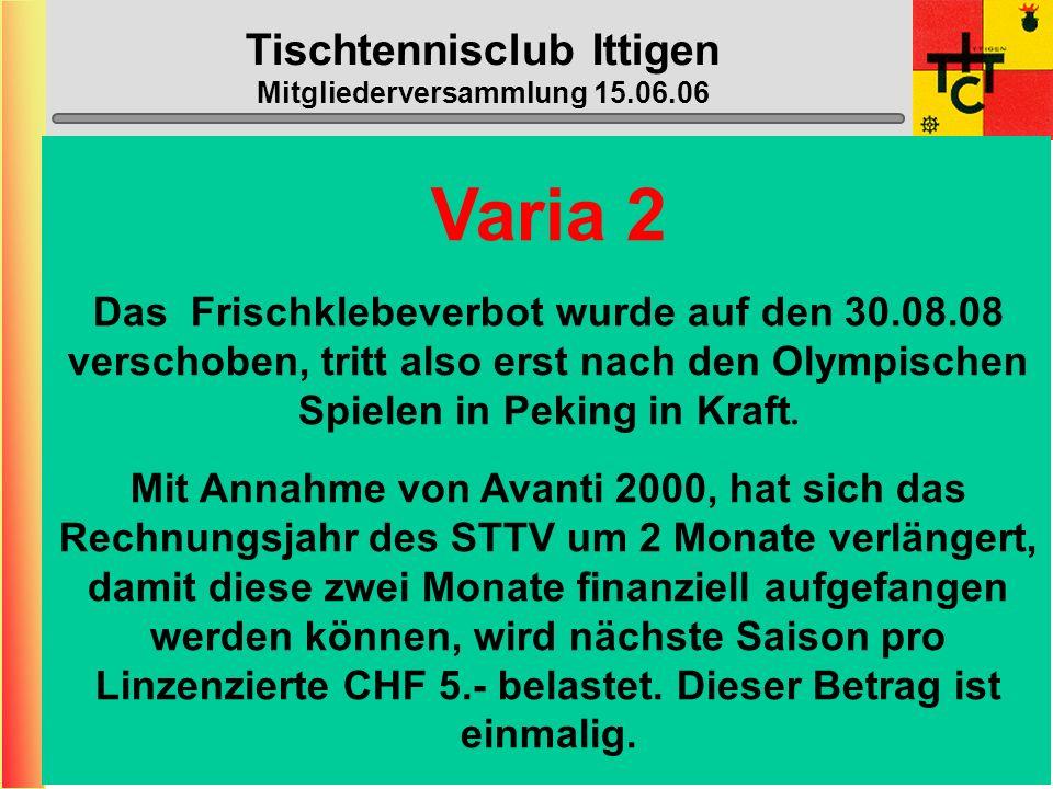 Tischtennisclub Ittigen Mitgliederversammlung 15.06.06 Varia An der DV des STTV wurde beschlossen, dass der STTV ab 1. Juli 07 swiss table tennis (stt