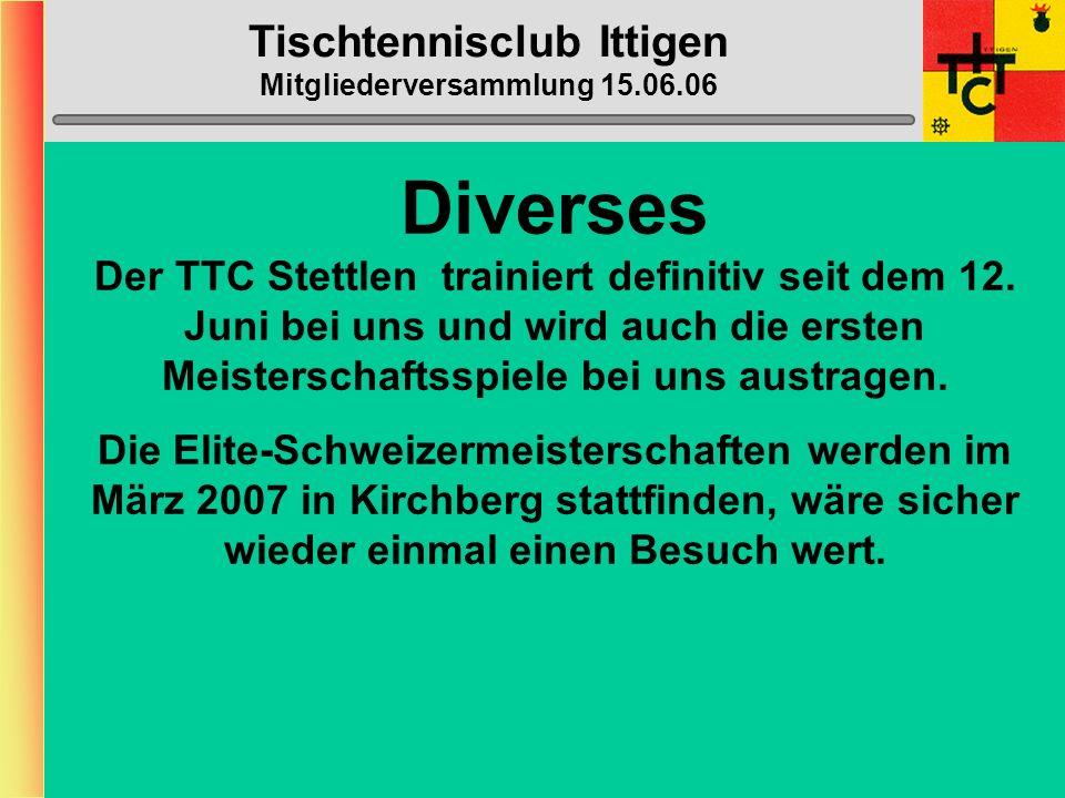 Tischtennisclub Ittigen Mitgliederversammlung 15.06.06 Varia 2 Das Frischklebeverbot wurde auf den 30.08.08 verschoben, tritt also erst nach den Olymp