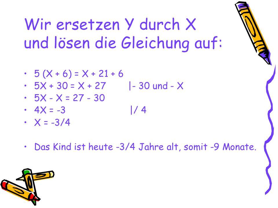 Wir ersetzen Y durch X und lösen die Gleichung auf: 5 (X + 6) = X + 21 + 6 5X + 30 = X + 27 |- 30 und - X 5X - X = 27 - 30 4X = -3 |/ 4 X = -3/4 Das K