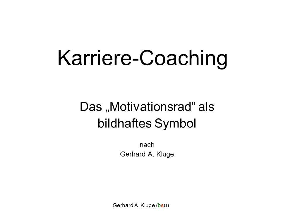 Gerhard A. Kluge (bsu) Karriere-Coaching Das Motivationsrad als bildhaftes Symbol nach Gerhard A. Kluge
