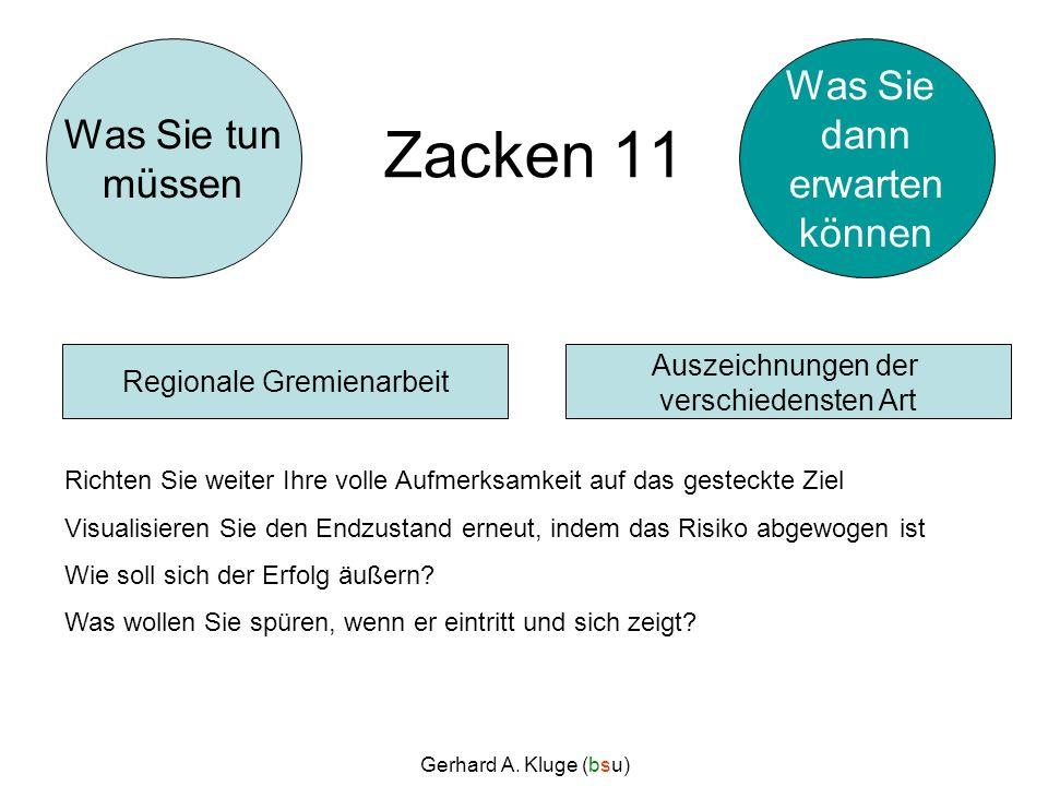 Gerhard A. Kluge (bsu) Zacken 11 Richten Sie weiter Ihre volle Aufmerksamkeit auf das gesteckte Ziel Visualisieren Sie den Endzustand erneut, indem da