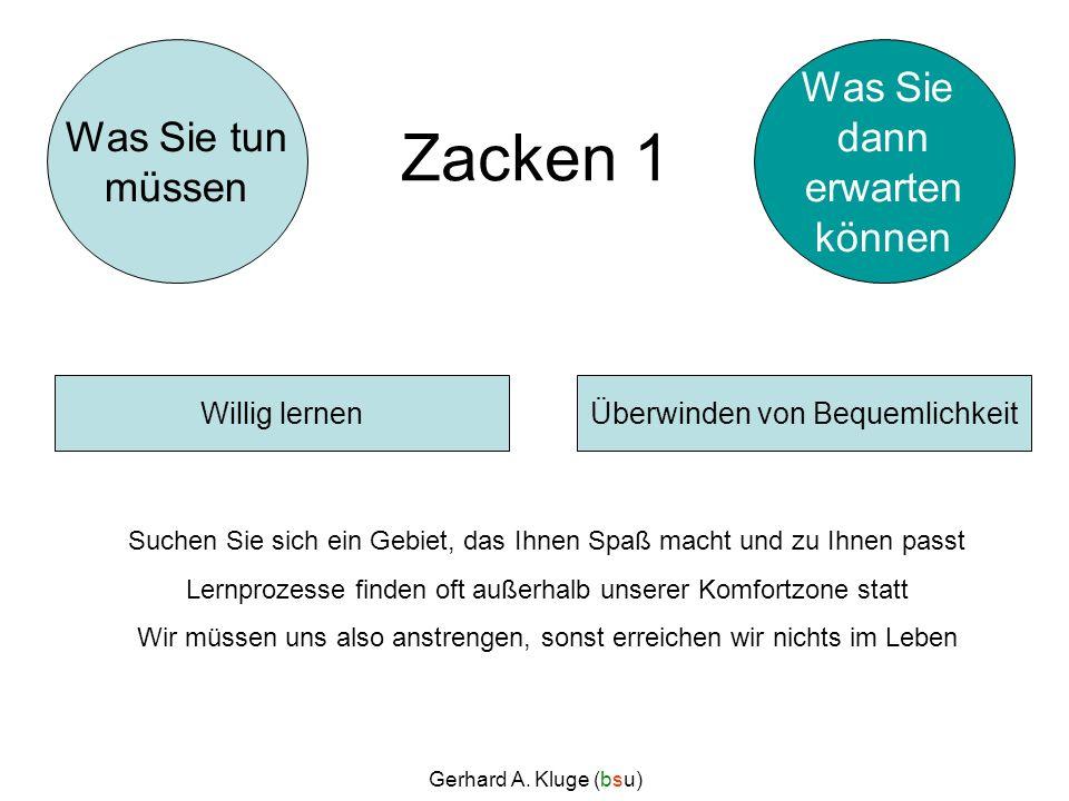 Gerhard A. Kluge (bsu) Zacken 1 Suchen Sie sich ein Gebiet, das Ihnen Spaß macht und zu Ihnen passt Lernprozesse finden oft außerhalb unserer Komfortz