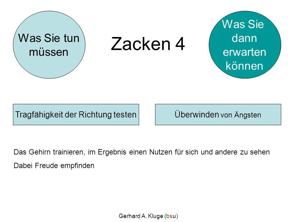 Gerhard A. Kluge (bsu) Zacken 4 Das Gehirn trainieren, im Ergebnis einen Nutzen für sich und andere zu sehen Dabei Freude empfinden Überwinden von Äng