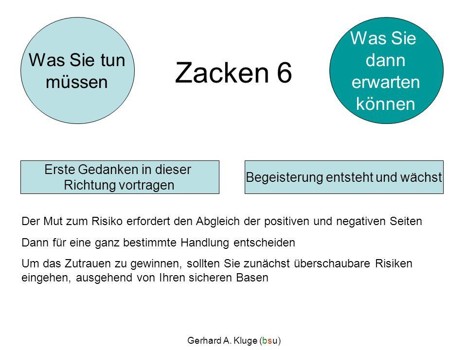 Gerhard A. Kluge (bsu) Zacken 6 Der Mut zum Risiko erfordert den Abgleich der positiven und negativen Seiten Dann für eine ganz bestimmte Handlung ent