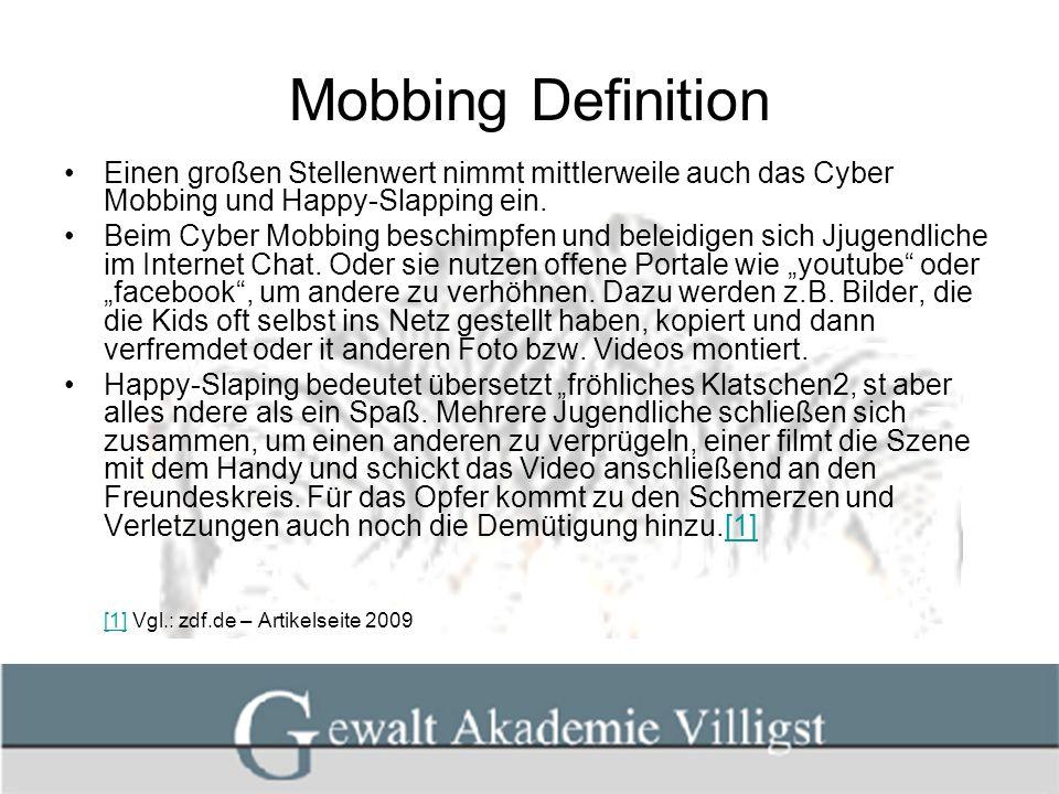 Mobbing Definition Einen großen Stellenwert nimmt mittlerweile auch das Cyber Mobbing und Happy-Slapping ein. Beim Cyber Mobbing beschimpfen und belei