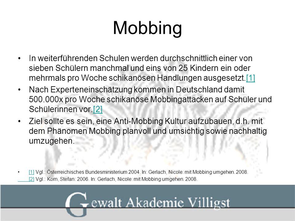 Mobbing Mobbingvorkommnisse sollten immer mit der gesamten Gruppe (Klasse) bearbeitet werden.