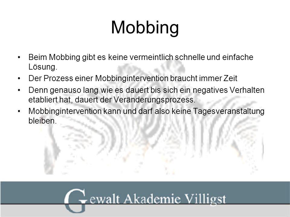 Mobbing Beim Mobbing gibt es keine vermeintlich schnelle und einfache Lösung. Der Prozess einer Mobbingintervention braucht immer Zeit Denn genauso la